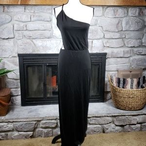 YFB black asymmetrical cutout column maxi dress M